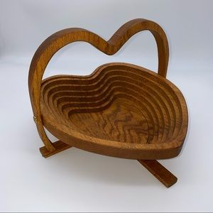 Large Wooden Heart Shaped Collapsible Basket Bowl